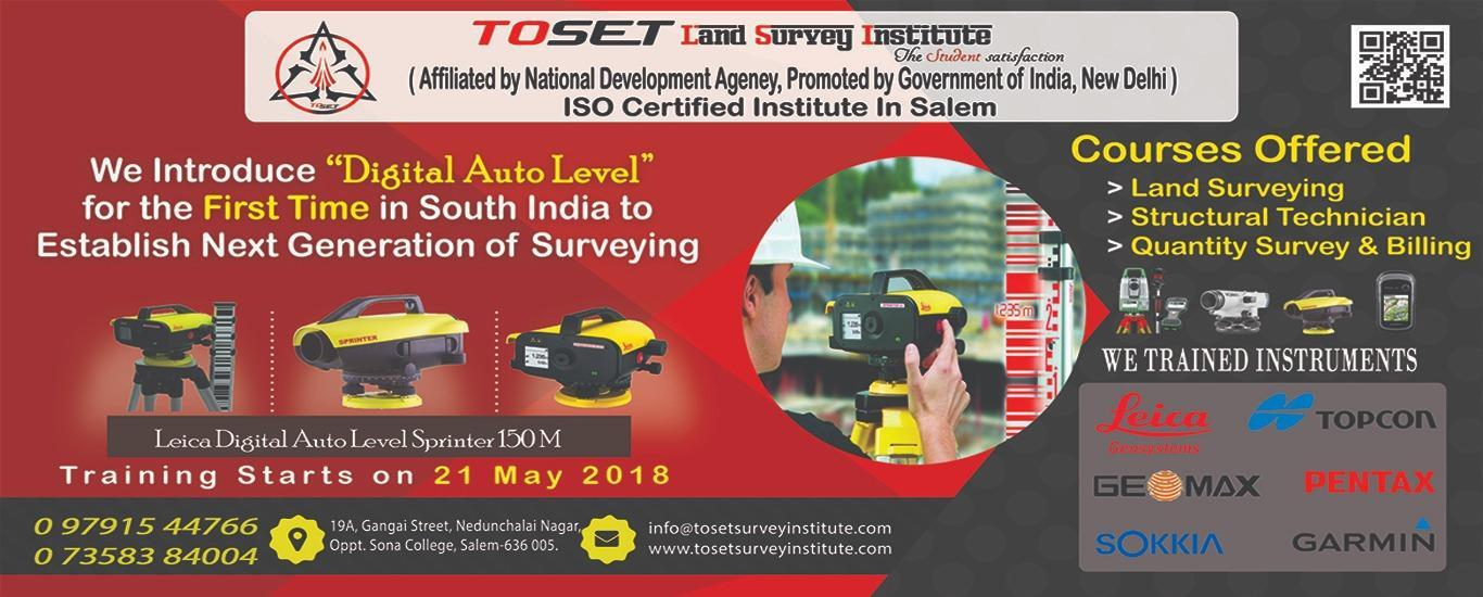 TLST - TOSET Land Survey Training Institution - Surveying and Mapping Institute in Suramangalam, Salem