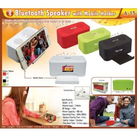 Bluetooth Speaker With Mobile Holder With Personalized Branding CI-BSA15