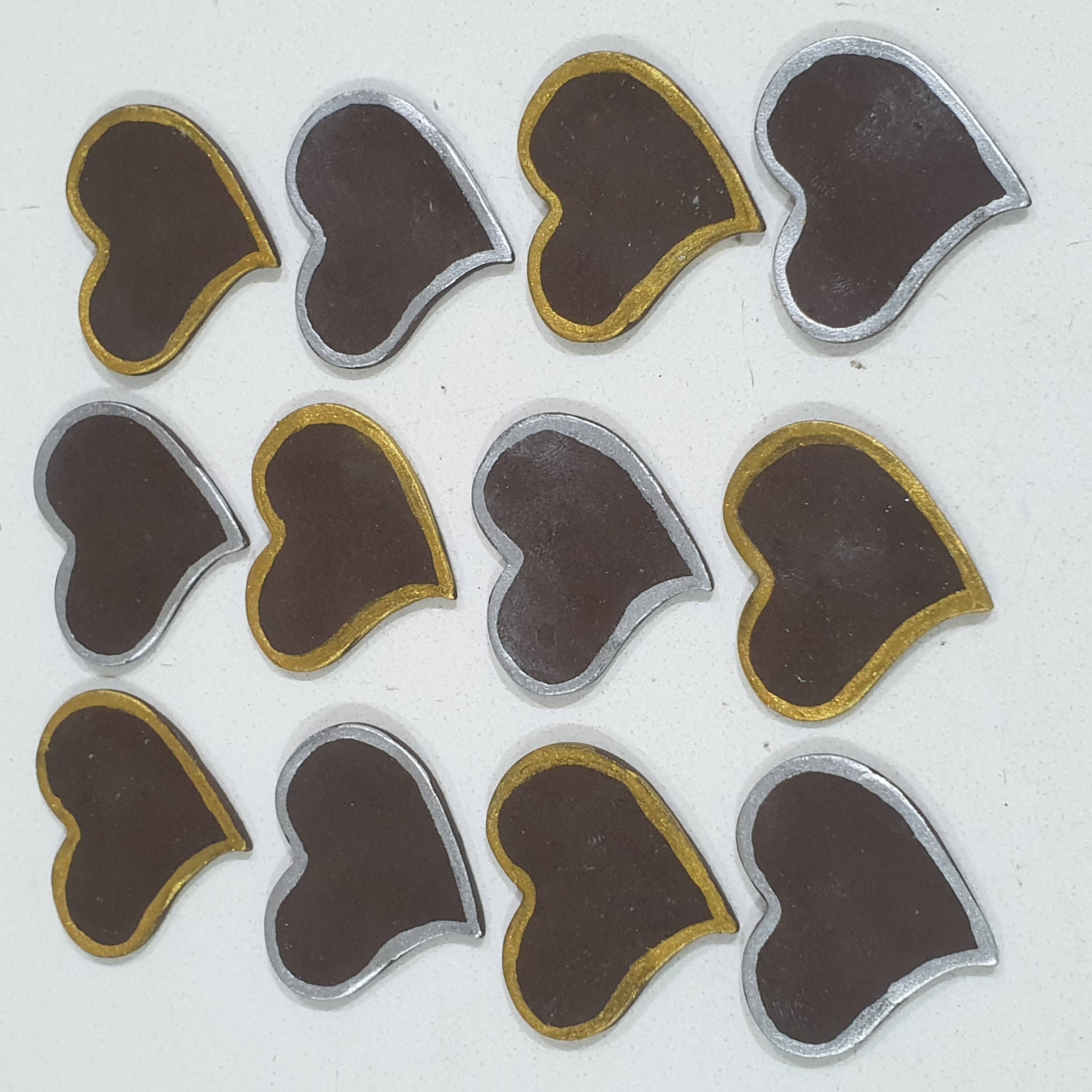 Gold&Silver Border Heart Chocolate Decorations