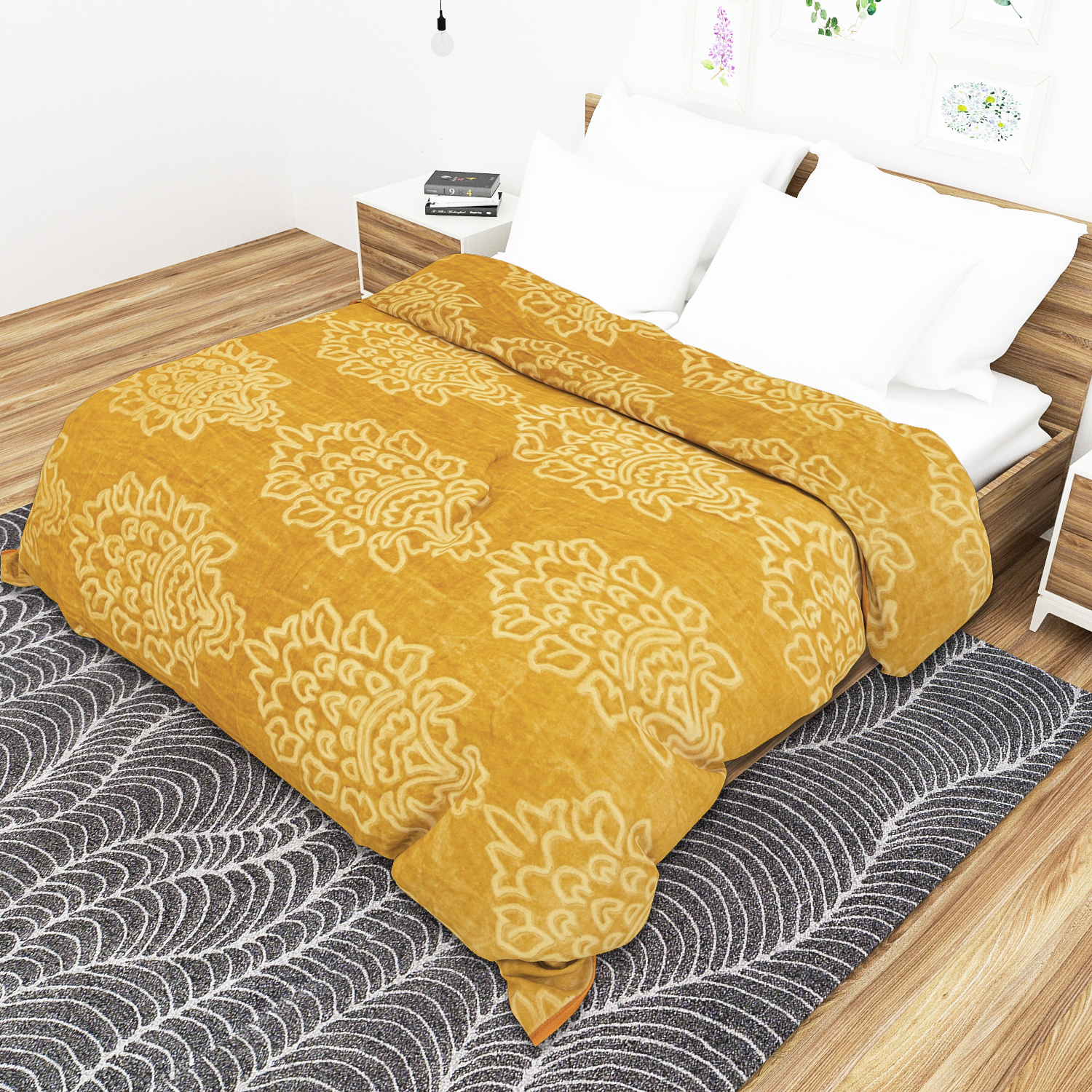 Soft Luxurious Embossed Very Warm Blankets Solid Colour Soft Ultra Floral Microfiber Double Bed Mink Winter Blanket For Winter Pack Of 1