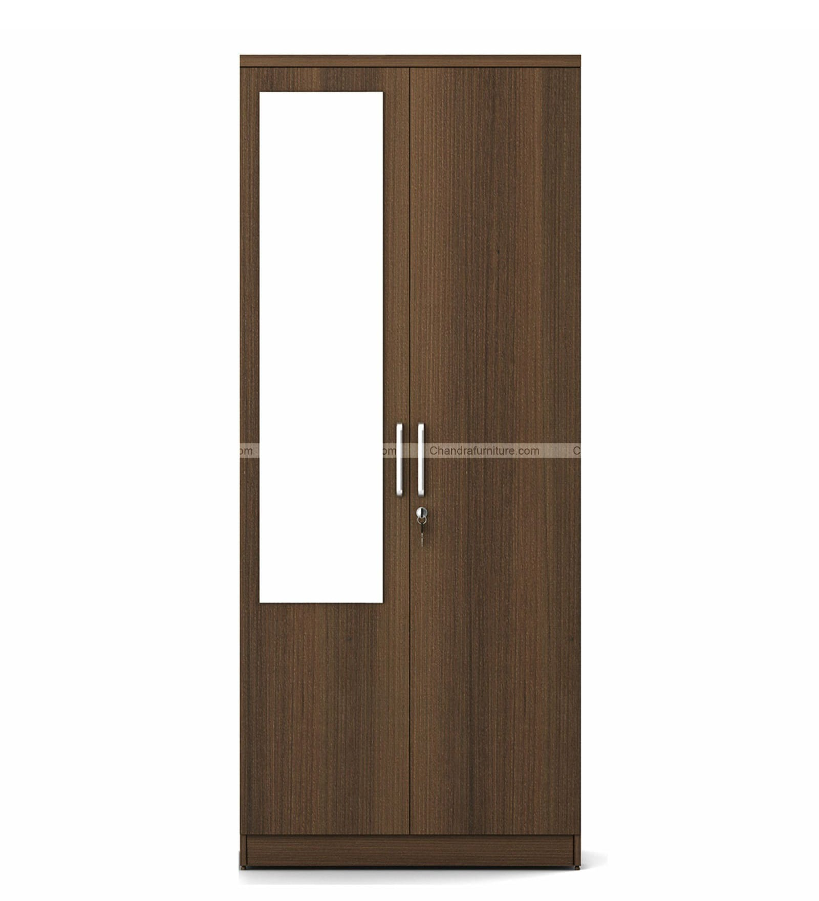 Chandra Furniture Stora Two Door Wardrobe With Mirror Wood Colour