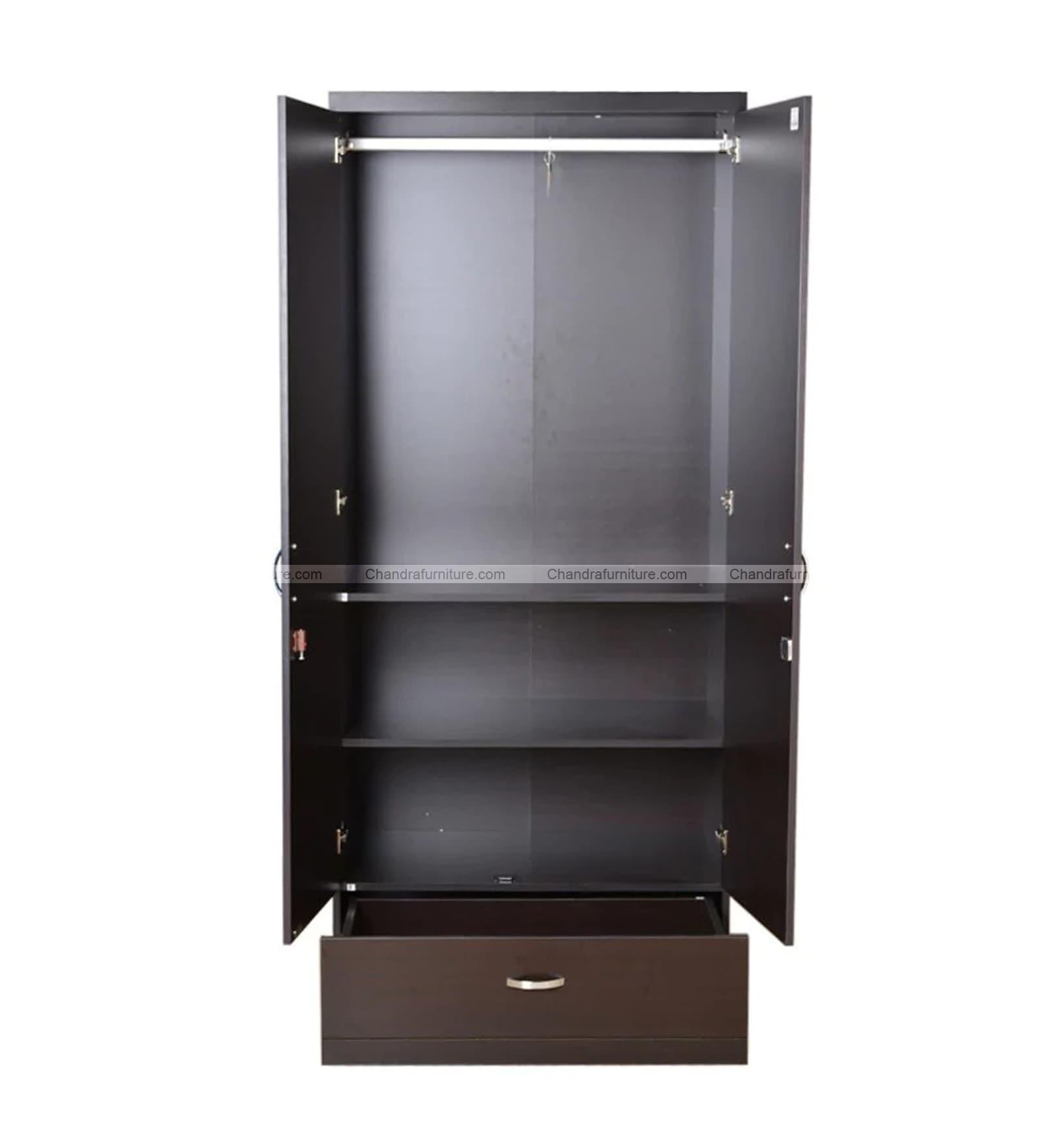 Chandra Furniture Cozy2  Two Door Wardrobe With Mirror  Dark Colour