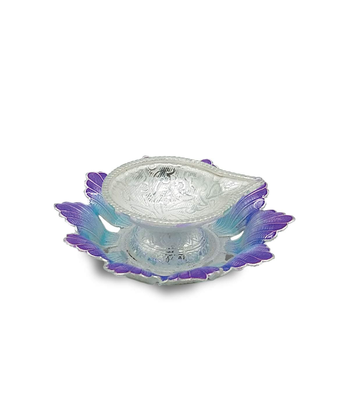 Silver Diya With Flower Shaped Base (Blue,Purple)