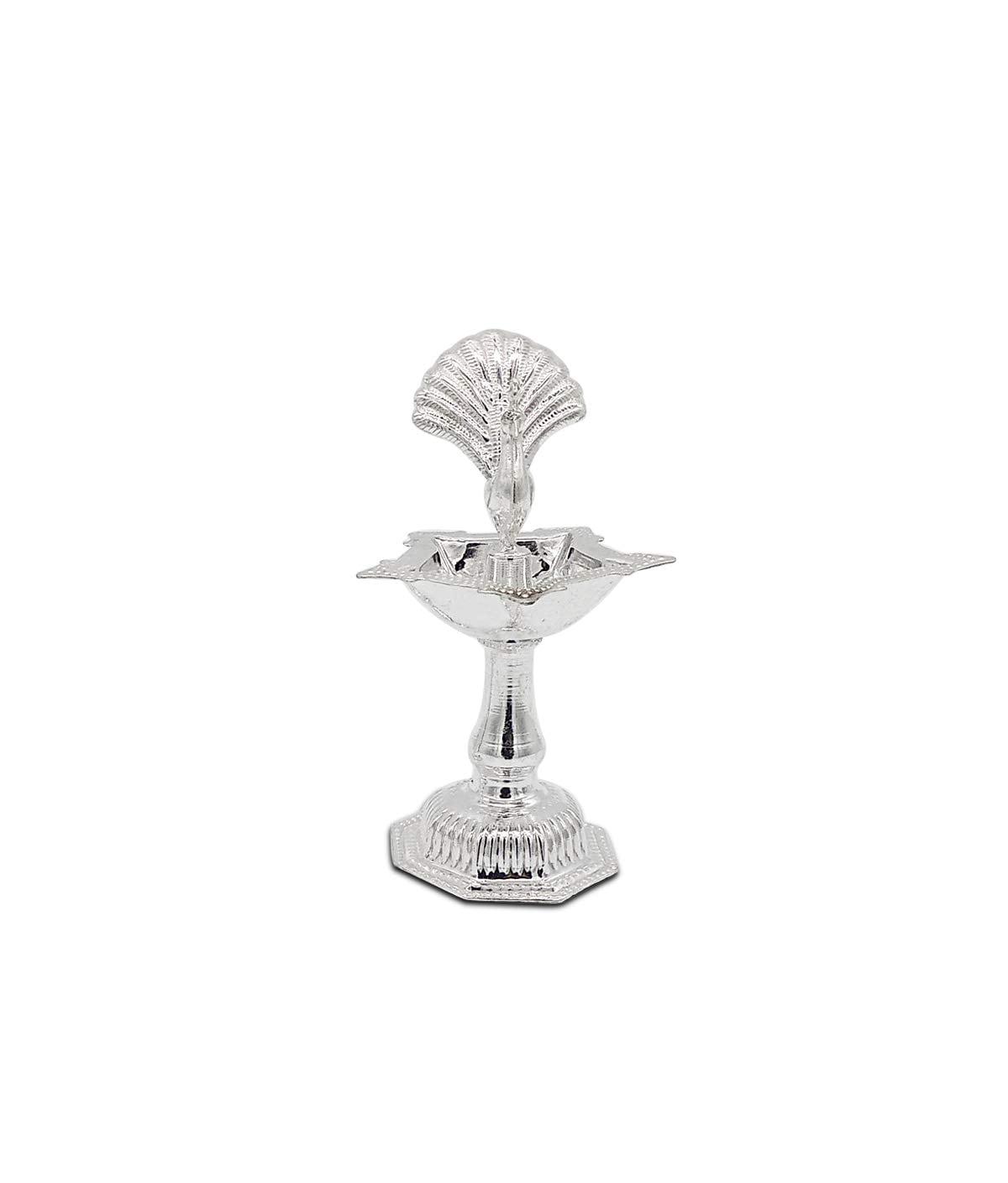 Silver Diya With Peacock Idol At Centre (55gm)
