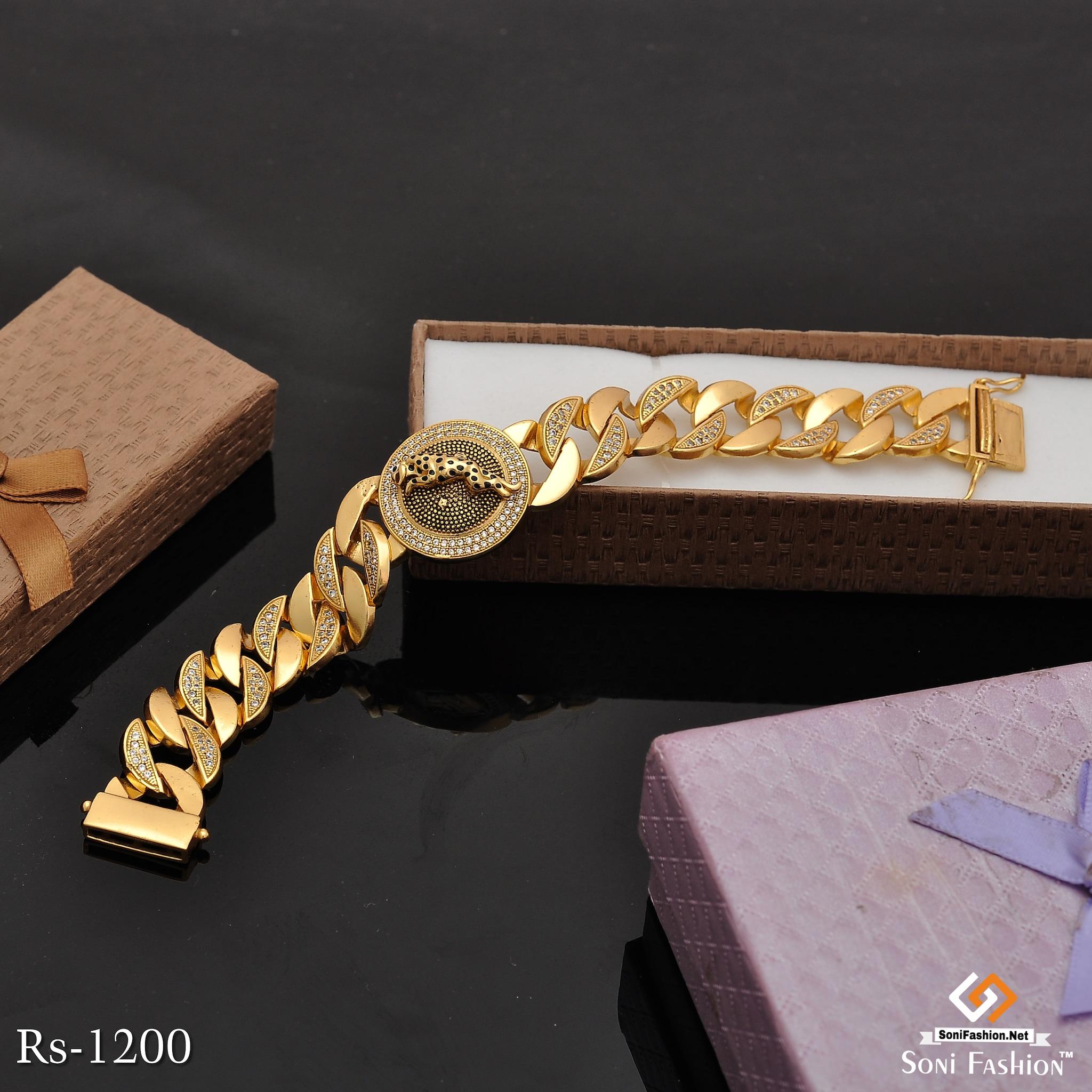 Gold Plated Jaguar Bracelet With Black Mino And Diamonds