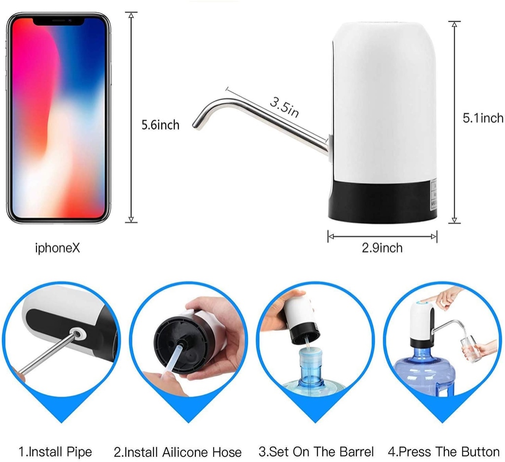 Automatic Water Dispenser, USB Charging Drinking Portable Electric Switch For Universal 3-5 Water Bottle For Outdoor Home Office (White)