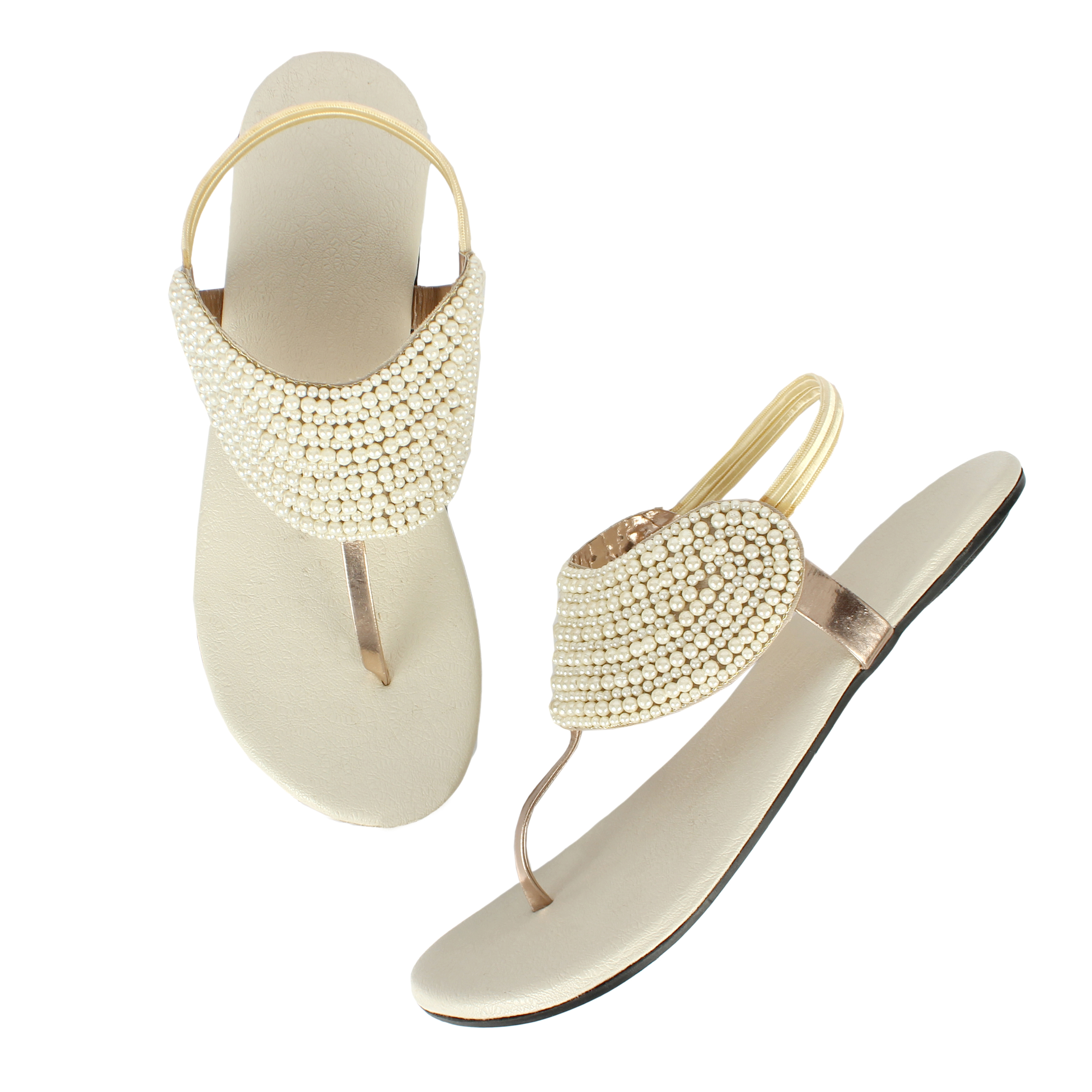 HACER'S EMBELLISHED WOMEN'S FLATS (White, 4-8( Women`s), PAIR'S)
