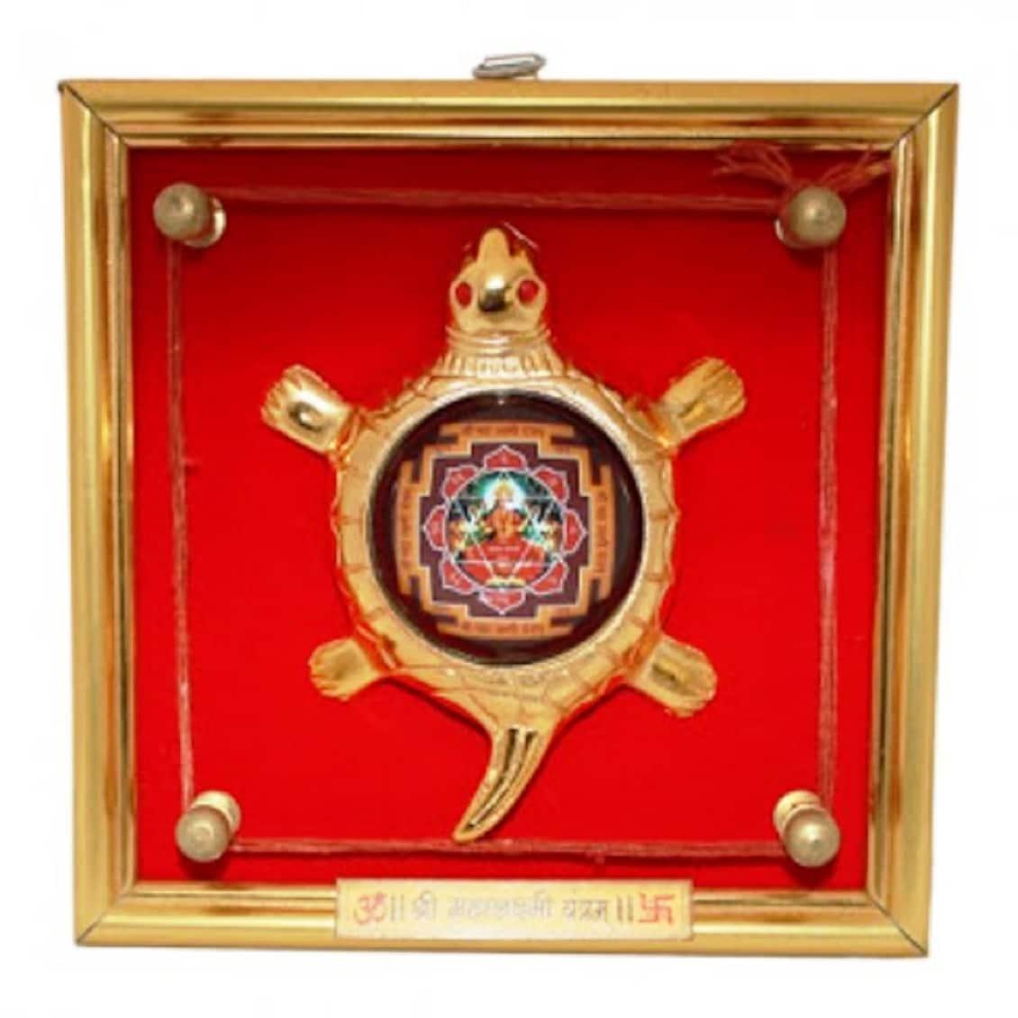 Numeroastro Shri Mahalaxmi Yantra On Brass Turtle | Tortoise In Frame For Wealth & Good Luck (Wall Hanging) (17 Cms) (1 Pc)