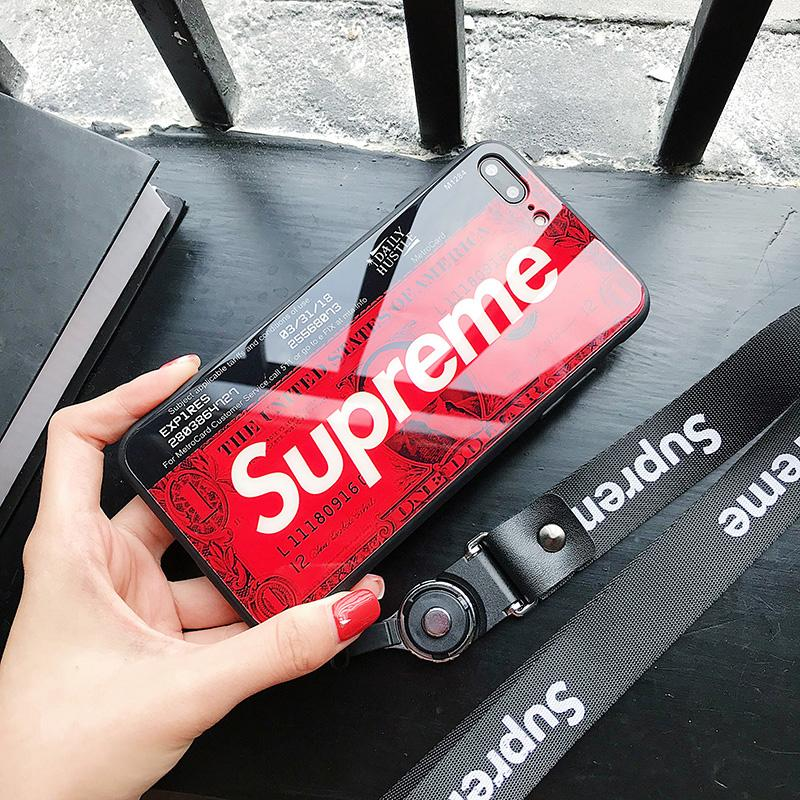 Supreme Printed Glossy Case For IPhone X Glass Back Cover