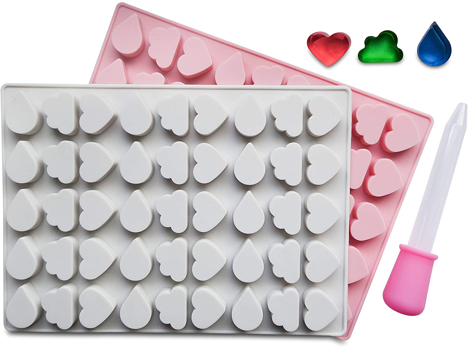 45 Cavity Heart, Cloud & Water Drops Silicone Candy Jelly Chocolate Mold Cake Tool - Divena In