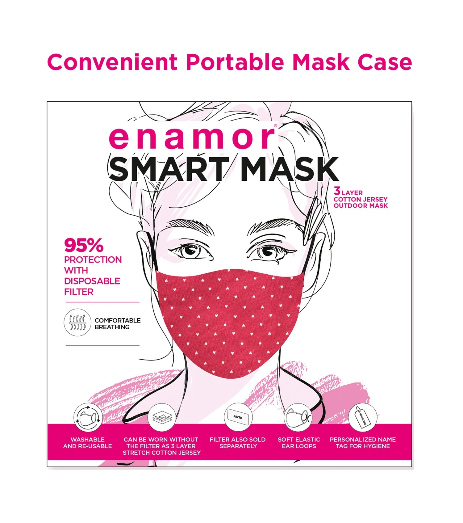 Enamor W001 SMART MASK : 3 Layer Cotton Jersey Outdoor Mask | >95% Protection (S,Maroon-Small Heart Print)