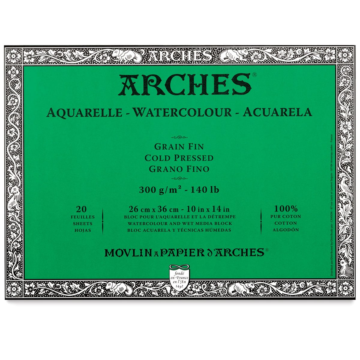 Arches 100% Cotton Watercolor Block (A3(-) Size: 26x36cms) Cold Pressed; 300 GSM; 20 Sheets