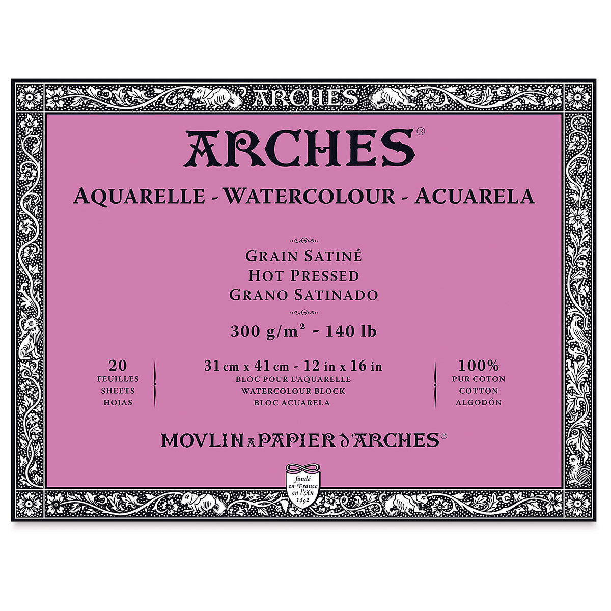 Arches 100% Cotton Watercolor Block (A3 Size: 31x41cms) Hot Pressed; 300 GSM; 20 Sheets