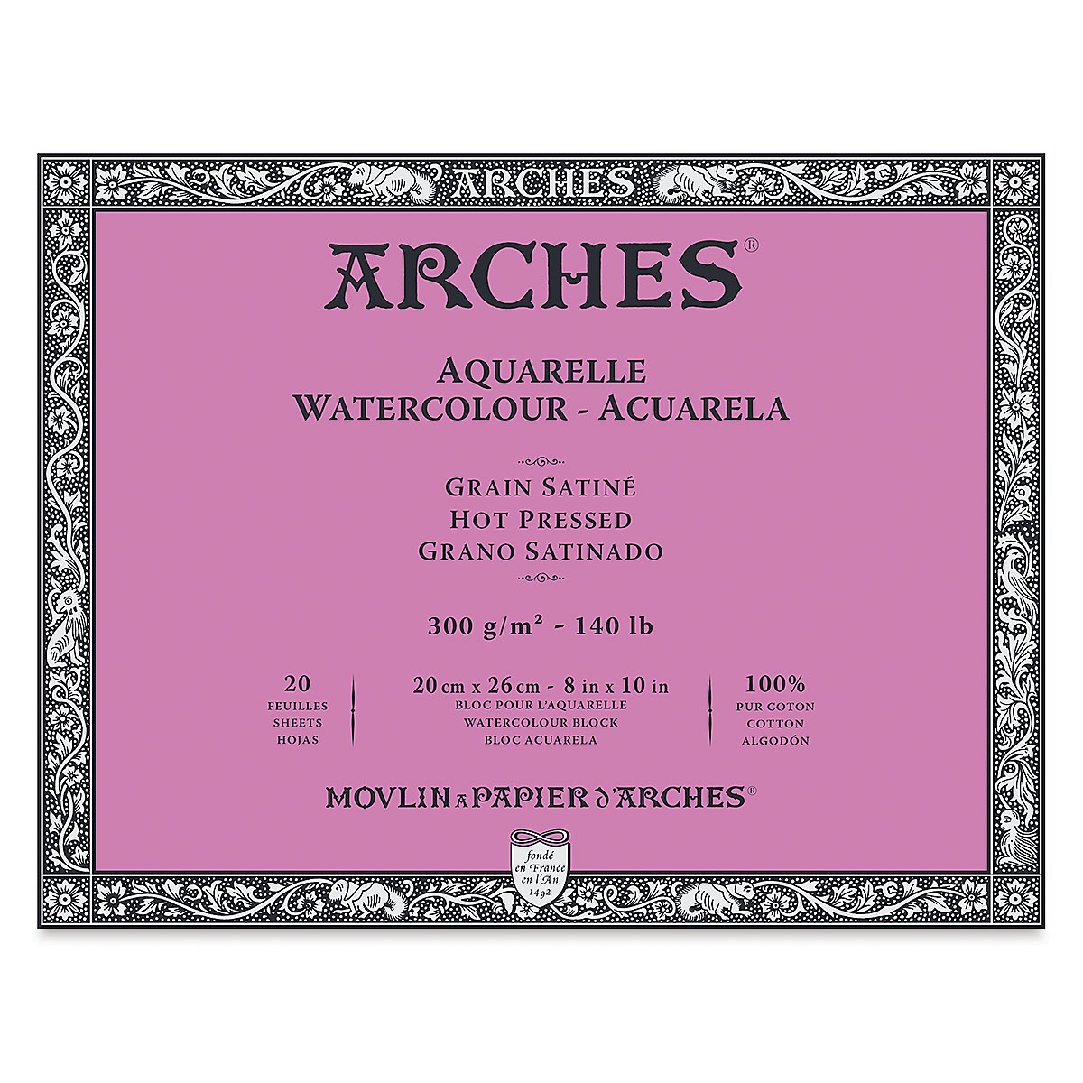 Arches 100% Cotton Watercolor Block (A4(-) Size: 20x26cms) Hot Pressed; 300 GSM; 20 Sheets