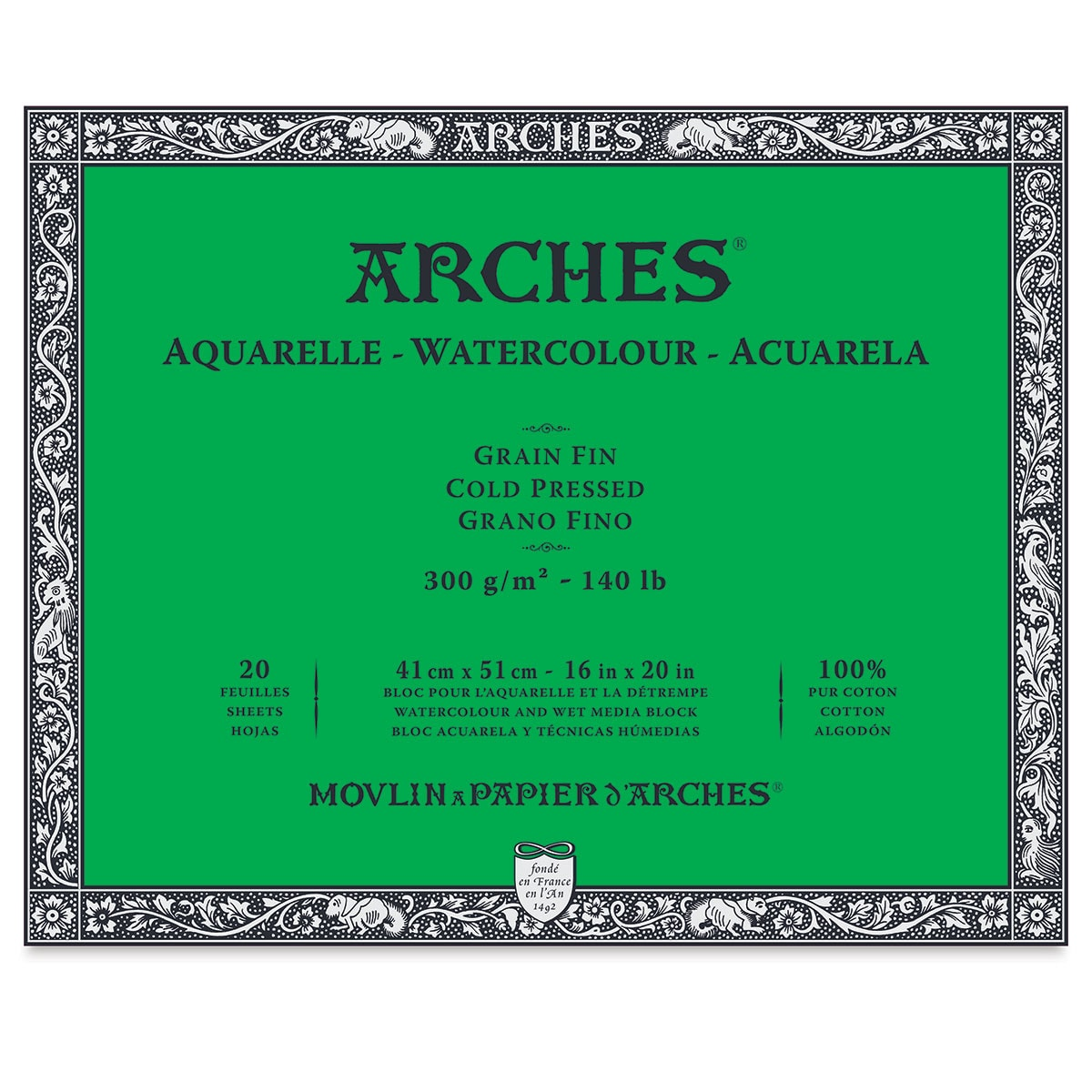 Arches 100% Cotton Watercolor Block (A5+ Size: 18x26cms) Cold Pressed; 300 GSM; 20 Sheets