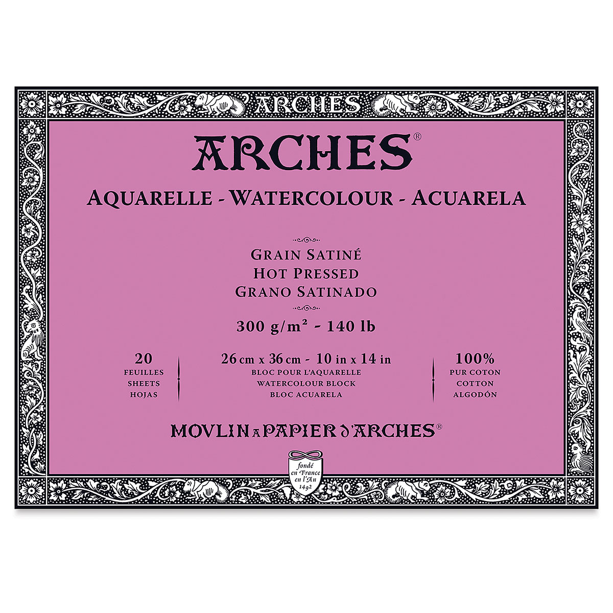 Arches 100% Cotton Watercolor Block (A3(-) Size: 26x36cms) Hot Pressed; 300 GSM; 20 Sheets
