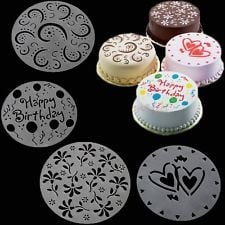 Pack Of 3 Variety Cake, Cupcake Stencil Template Mold Birthday Spirals Decoration