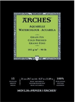 Arches 100% Cotton Watercolor Pad (A4 Size: 21x29.7cms) Cold Pressed; 185 GSM; 15 Sheets