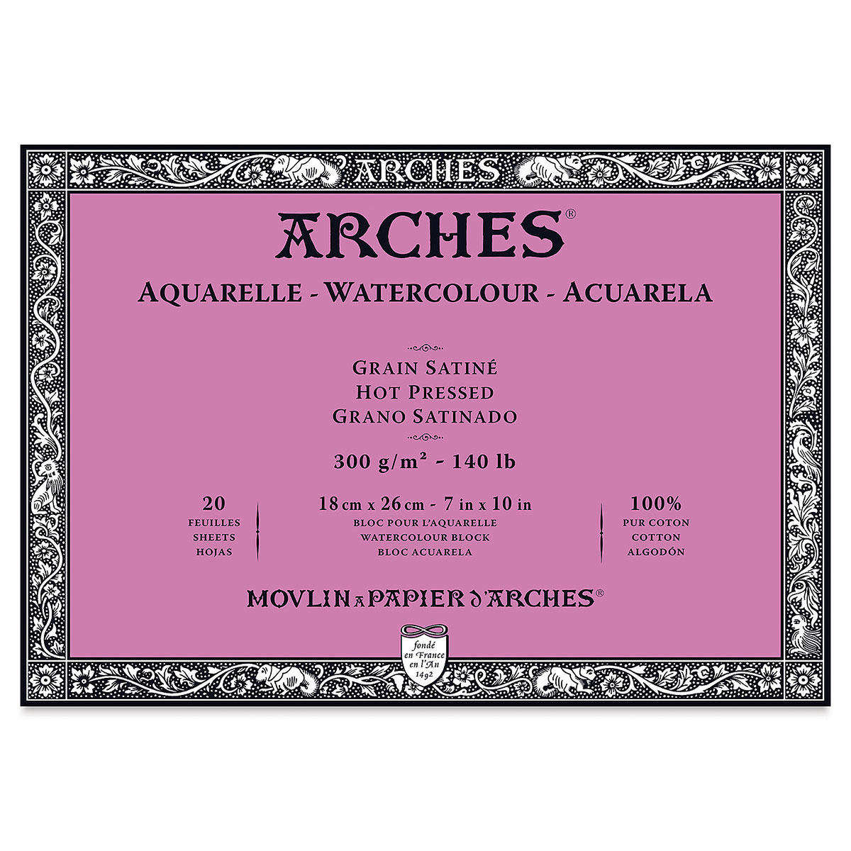 Arches 100% Cotton Watercolor Block (A4(-) Size: 18x26cms) Hot Pressed; 300 GSM; 20 Sheets