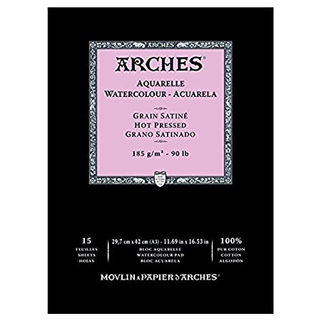 Arches 100% Cotton Watercolor Pad (A3 Size:29.7x42cms) Hot Pressed; 185 GSM; 15 Sheets