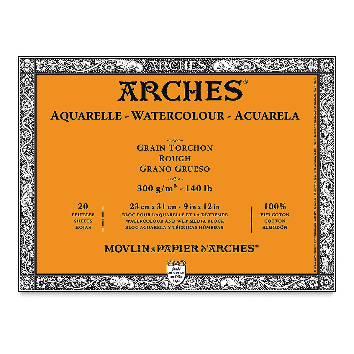 Arches 100% Cotton Watercolor Pad (A4 Size: 23x31cms) Rough Grain; 300 GSM; 20 Sheets