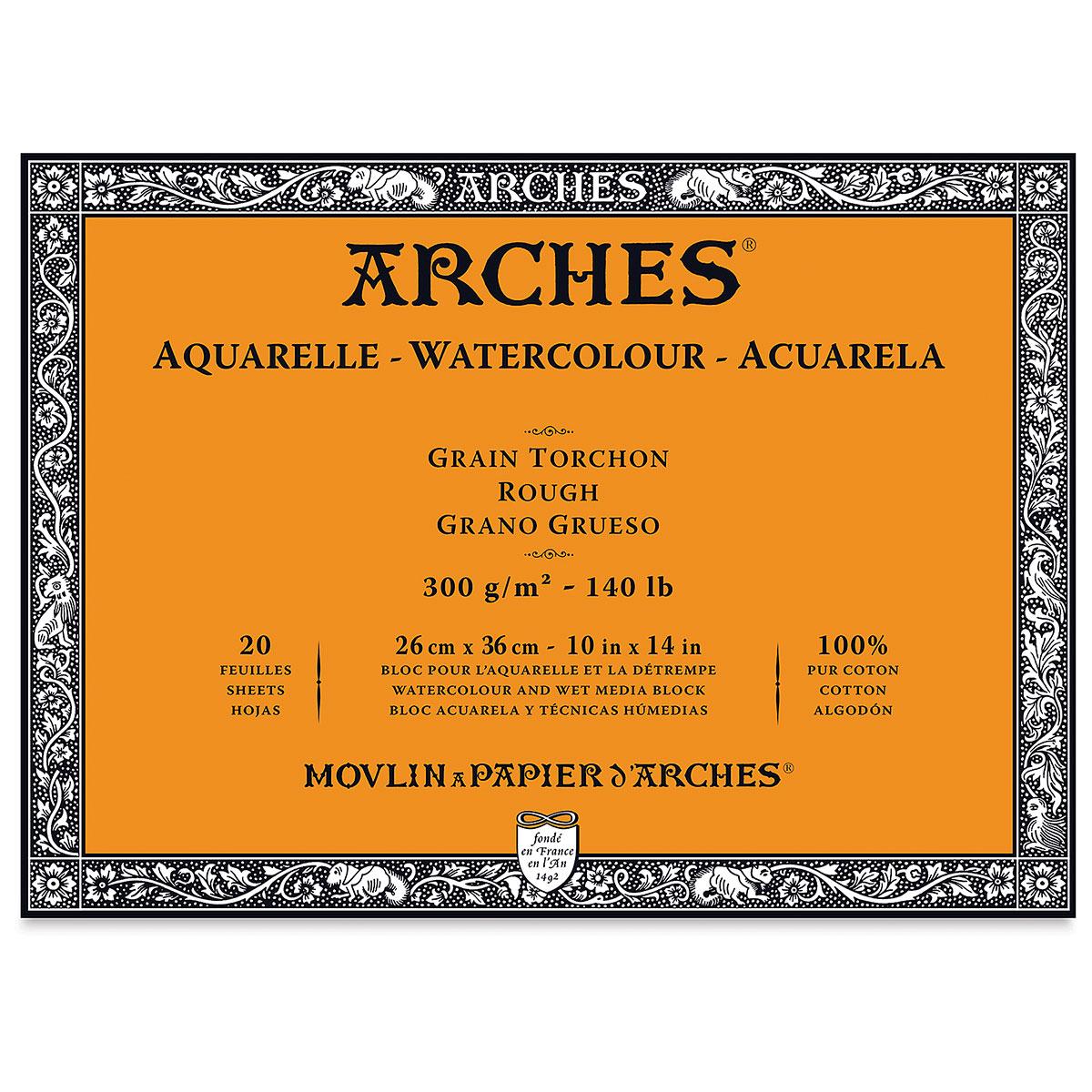 Arches 100% Cotton Watercolor Block (A3(-) Size: 26x36cms) Rough Grain; 300 GSM; 20 Sheets