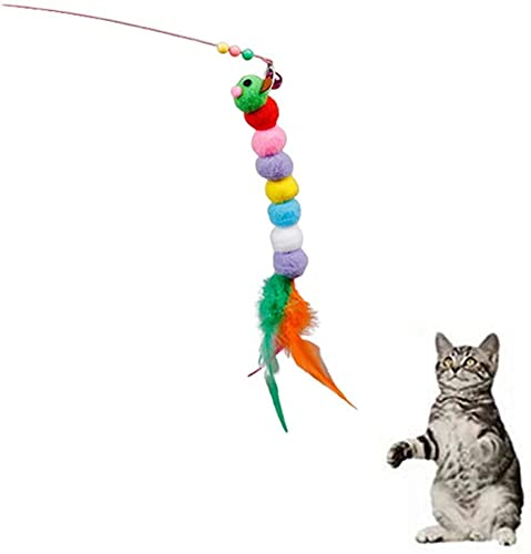 Pets Empire Cat Teaser Wand Toy Set, Cat Feather Toys, Funny Cat Teaser Wand Toys In Colorful Feather Toys For Exercising Kitten Or Cat (Pack Of 2 ( C