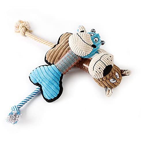 Pets Empire Squeaky Dog Toy Soft Plush Pet Chew Toy With Tug Rope For Small Medium Dogs - 1 Piece (Blue)