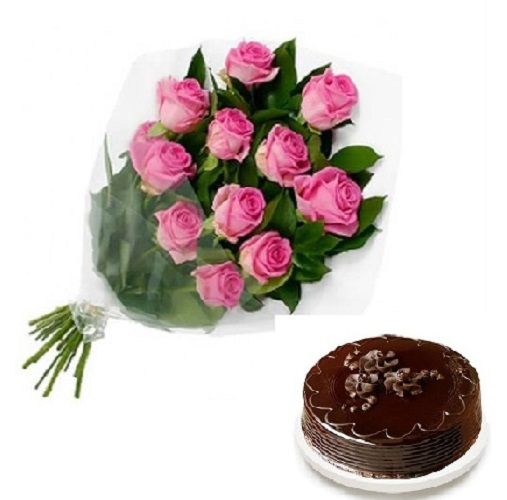 Fresh Flower Bouquet Of 12 Pink Roses With Chocolate Cake - LPCO12PRCT (Standard (15:00, 18:00), Regualr with egg, 1.0 Kg)