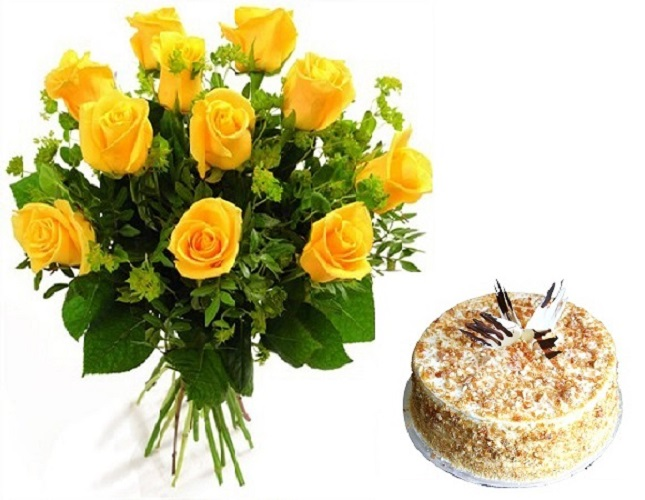 Fresh Flower Bouquet Of 12 Yellow Roses With Butter Scotch Cake - LPCO12YRBC (Standard (12:00, 15:00), Regualr with egg, 0.5 Kg)