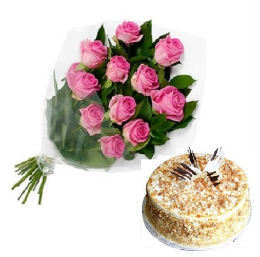 Fresh Flower Bouquet Of 12 Pink Roses With Butter Scotch Cake - LPCO12PRBC (Standard (09:00, 12:00), Regualr with egg, 1.0 Kg)