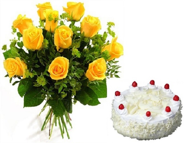 Fresh Flower Bouquet Of 12 Yellow Roses With White Forest Cake - LPCO12YRWF (Standard (12:00, 15:00), Regualr with egg, 0.5 Kg)