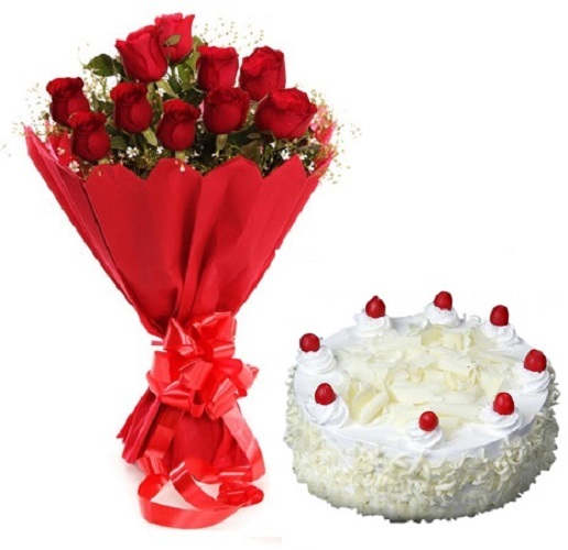 Fresh Flower Bouquet Of 12 Red Roses With White Forest Cake - LPCO12RRWF (Mid-Night (23:00, 00:00), Regualr with egg, 1.0 Kg)