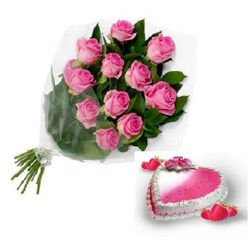 Fresh Flower Bouquet Of 12 Pink Roses With Heart Shape Strawberry Cake - LPCO12PRHSB (Mid-Night (23:00, 00:00), Make it eggless, 1.0 Kg)