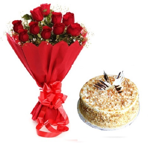 Fresh Flower Bouquet Of 12 Red Roses With Butter Scotch Cake - LPCO12RRBS (Standard (09:00, 12:00), Make it eggless, 0.5 Kg)