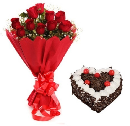 Fresh Flower Bouquet Of 12 Red Roses With Heart Shape Black Forest Cake - LPCO12RRHBF (Standard (15:00, 18:00), Regualr with egg, 1.0 Kg)