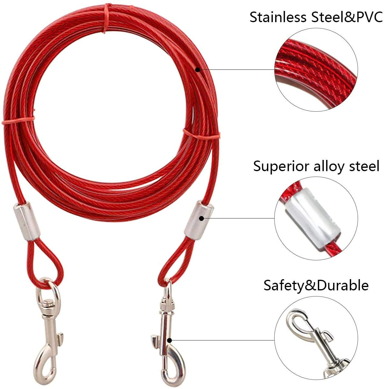 Pets Empire 15ft Dog Tie Out Cable, Tie-Out Cable For Pet Dogs Up To 60 Pounds