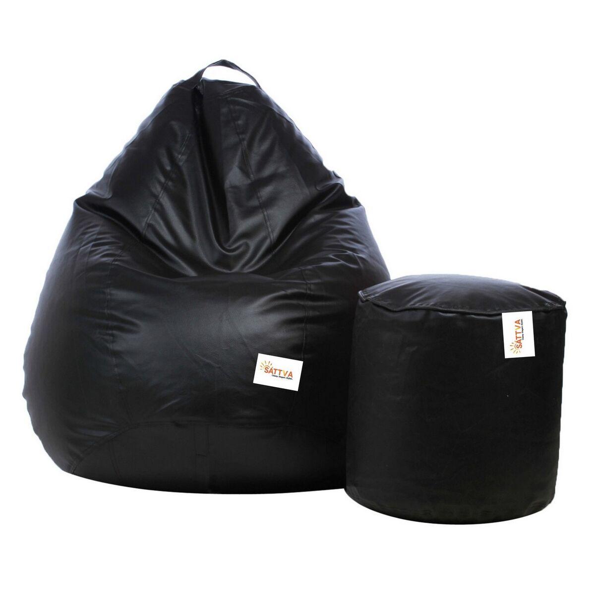 Sattva Combo Classic Bean Bag And Footstool (Filled ) XL - Black (XL, Black)
