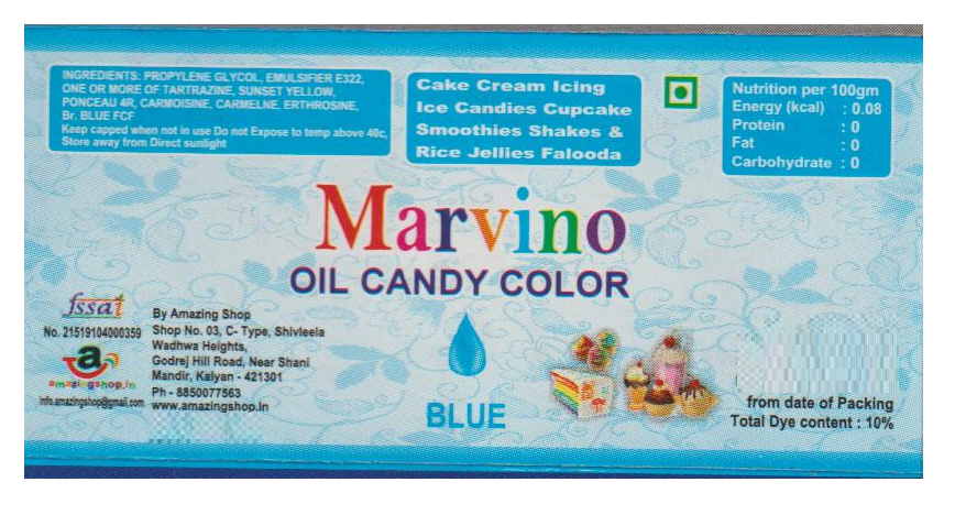 Marvino Candy Food Gel Colors (Oil Color ) (Candy Color Blue)