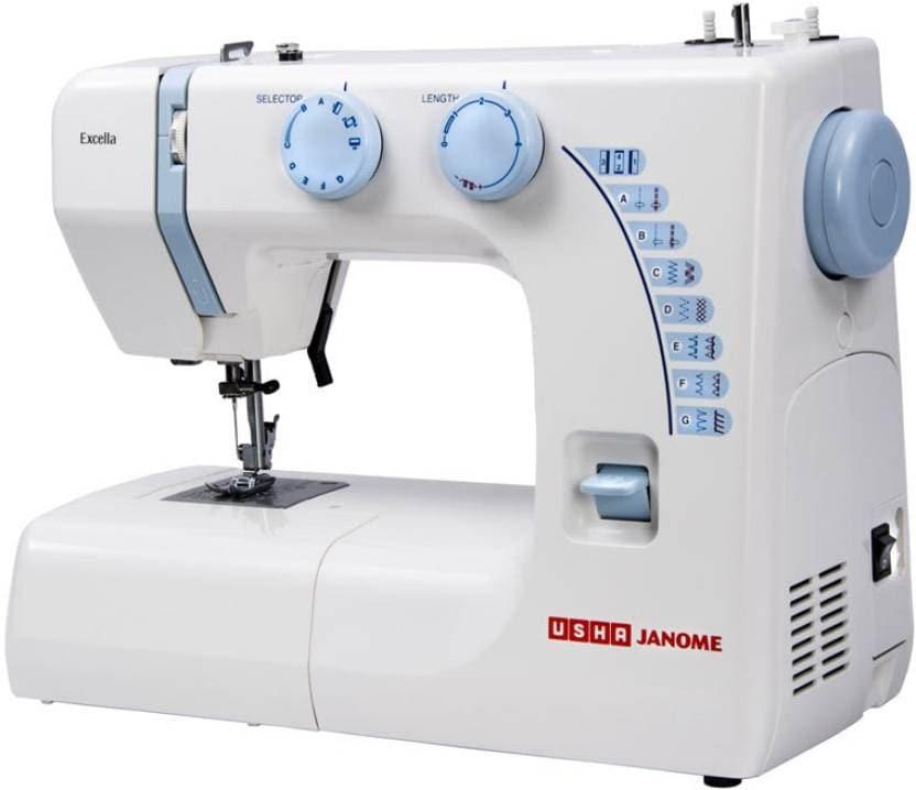 Usha Excella Electronic Sewing Machine (White & Blue)