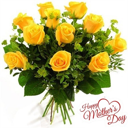 Mothers Day Gift Of Fresh Flower Bouquet (Bunch Of 10 Yellow Roses) - FFBUMD105 (Morning (09AM,12PM))