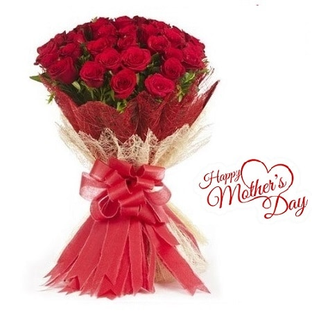 Mothers Day Gift Of Fresh Flower Bouquet (Bunch Of 40 Red Roses) - FFBUMD109 (Morning (09AM,12PM))