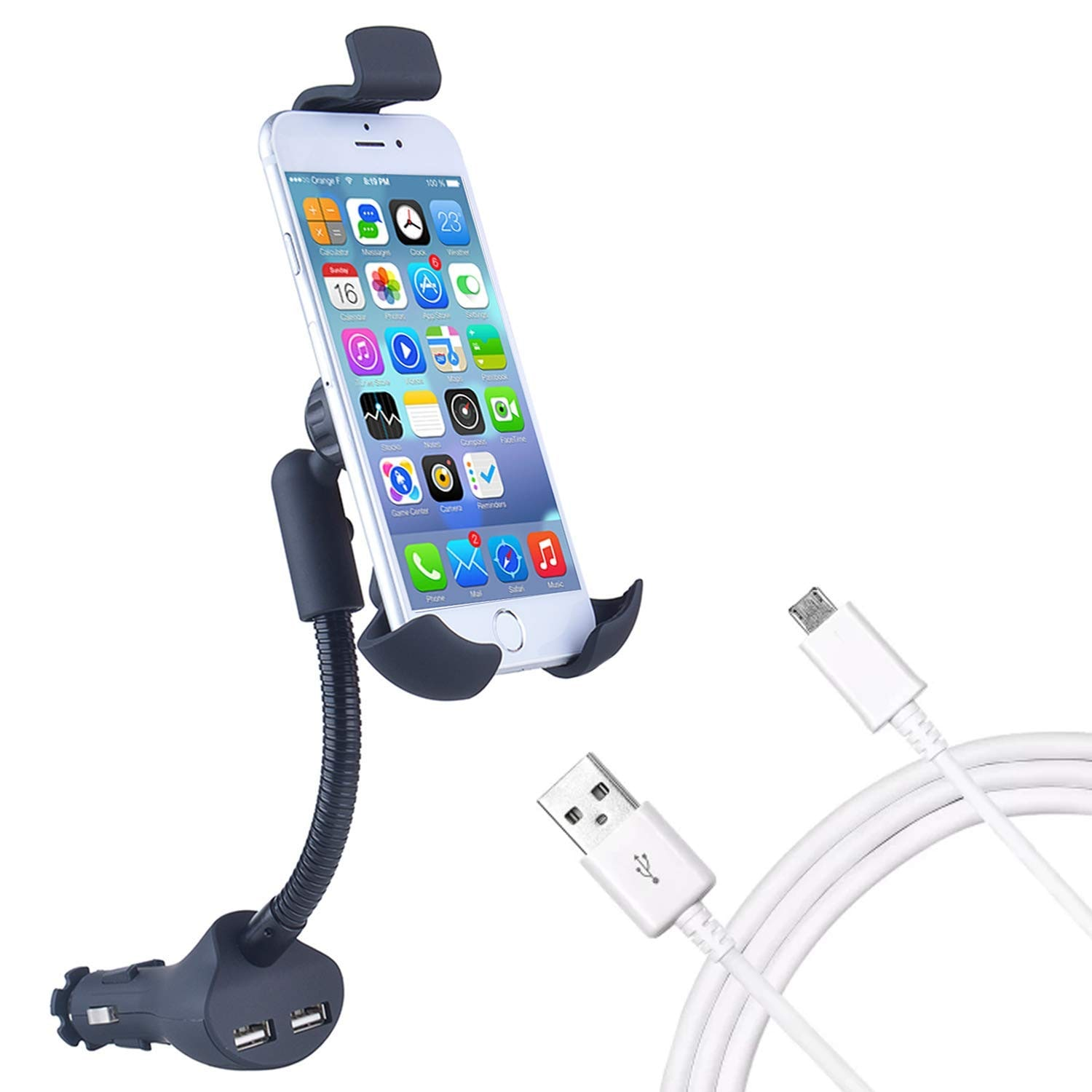 BLACKCAT DUAL USB MOBILE CHARGER WITH HOLDER DUAL USB MH
