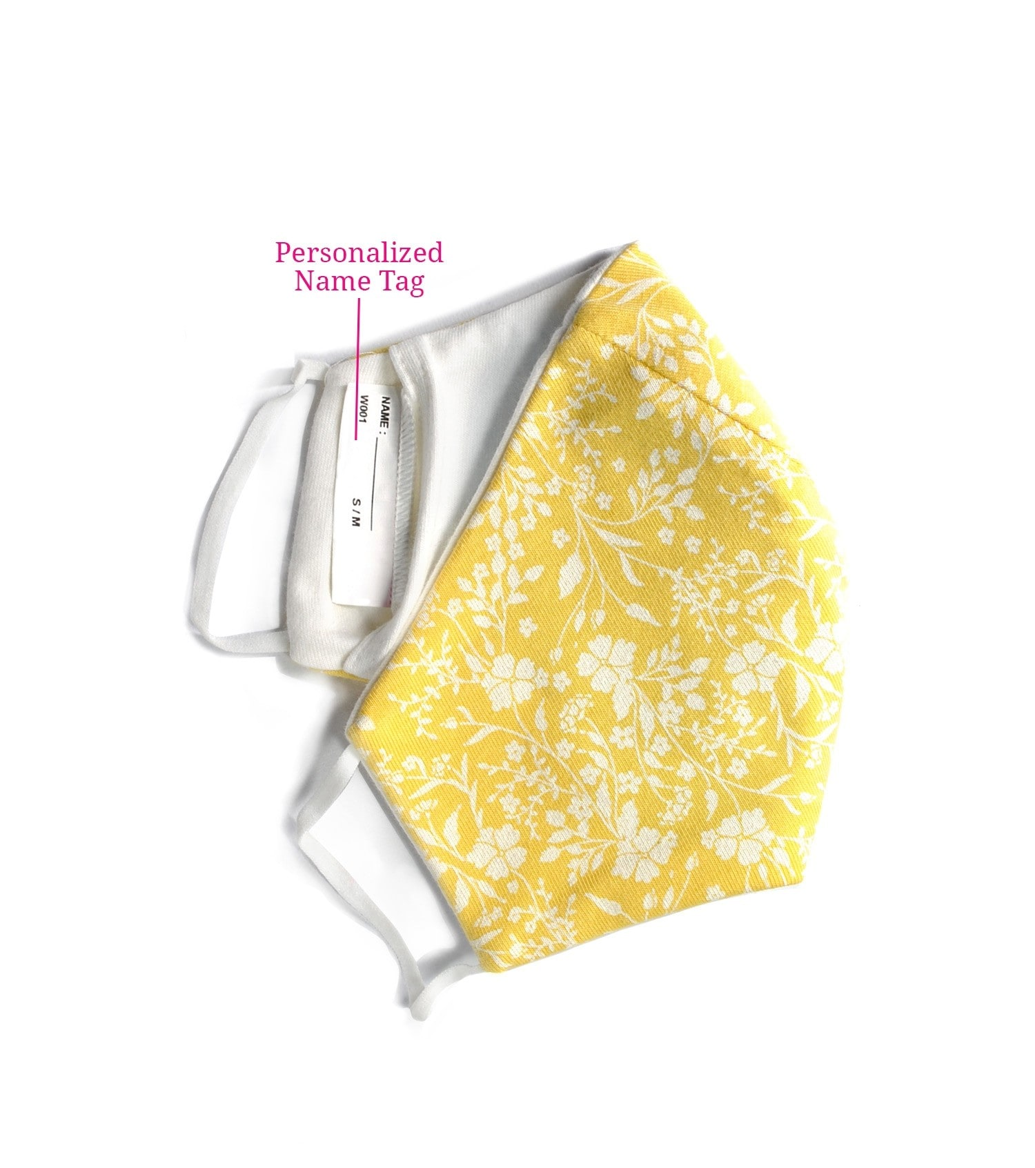 Enamor W001 SMART MASK : 3 Layer Cotton Jersey Outdoor Mask | >95% Protection (S,Yellow Print)