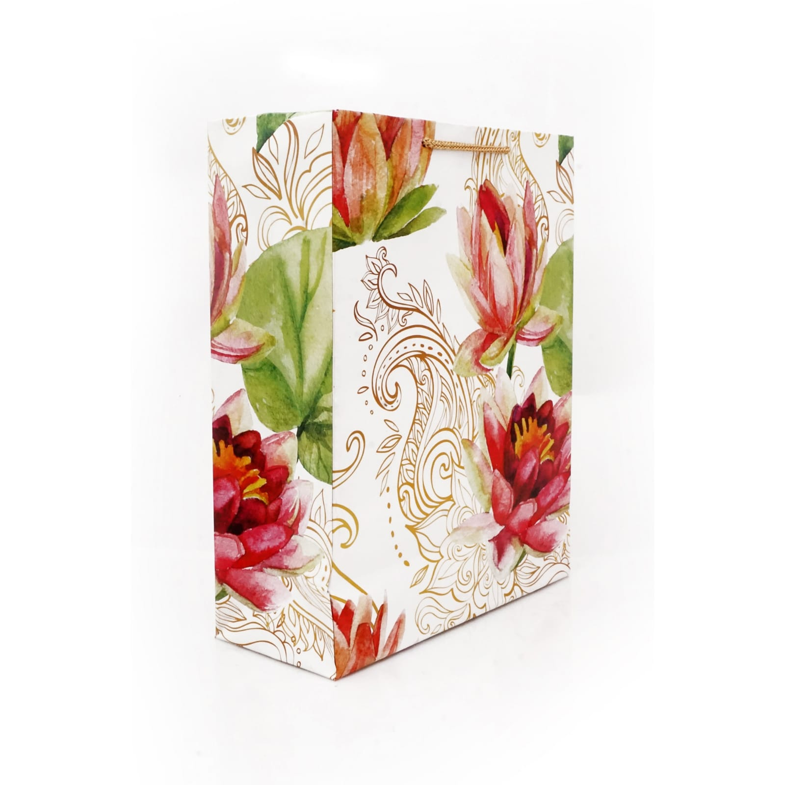 Golden Rose Flower Paper Bag