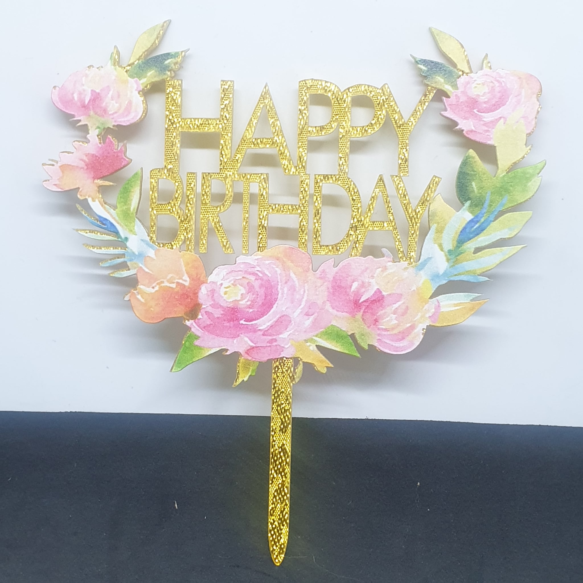 Acrylic HB Floral Spring Cake Topper