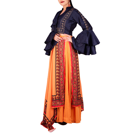 Stunning Bell Sleeves Crop Top With Skirt For Women (XL,Navy Blue & Orange)
