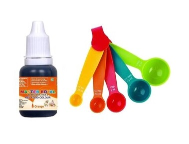 Master Royal BackNCook Tools Edible Gel Food Colors & Flavours Gel With 5 Small Measuring Spoons (Orange)