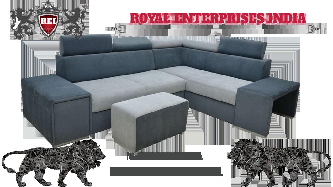 Royal Blazing 3 Seater + Corner Sofa Adjuastable Headrest , & Stool