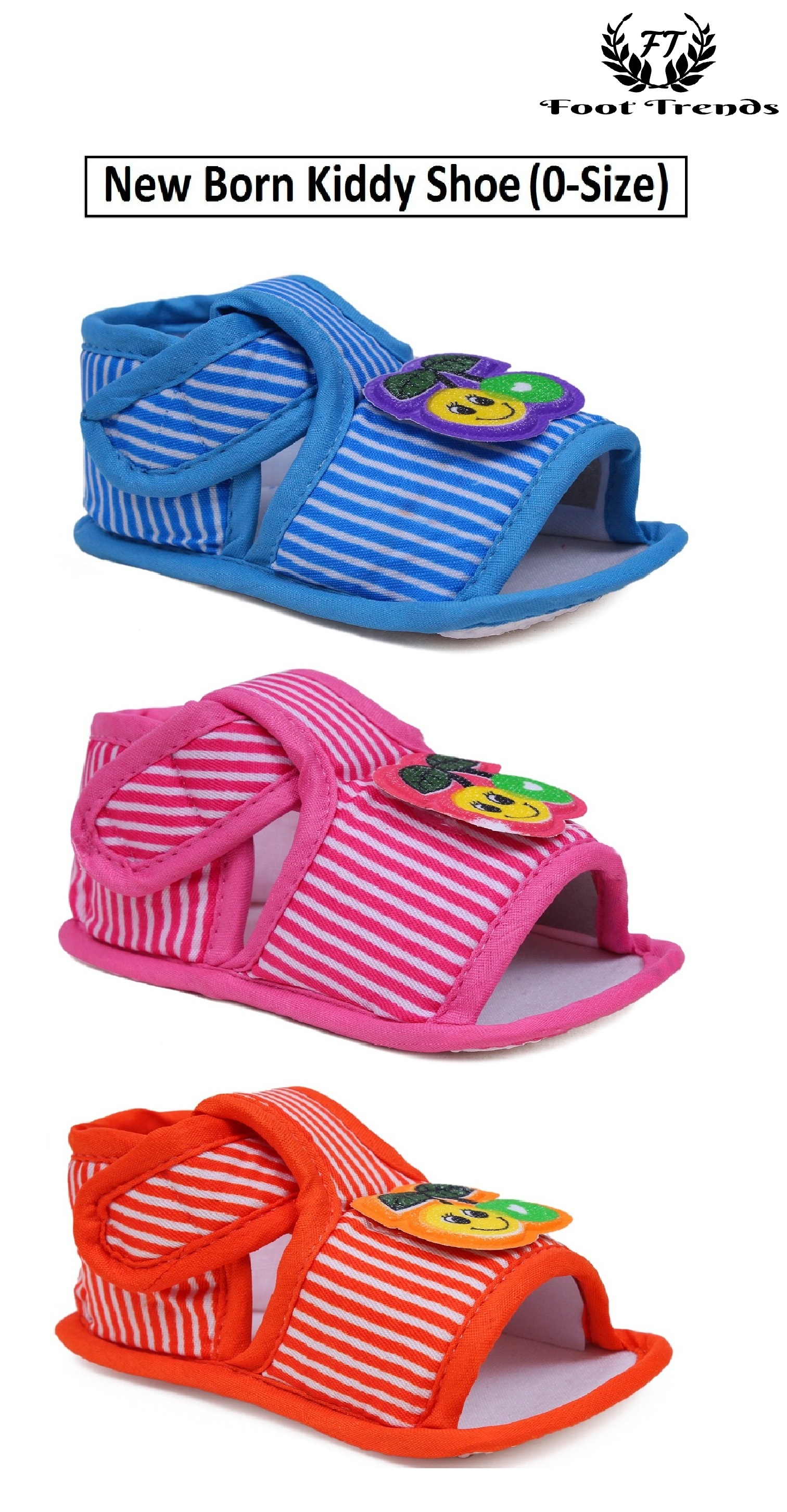 Foot Trends New Kiddy Line Shoes For New Born Kids (0-Size) FT-N.Kiddy-Line (Multicolor,0,12 PAIR)